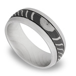 Domed Tiger Men's Wedding Ring with Two Accent Grooves in Damascus Steel | Thumbnail 01