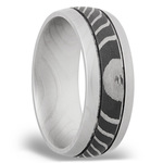 Domed Tiger Men's Wedding Ring with Two Accent Grooves in Damascus Steel | Thumbnail 02
