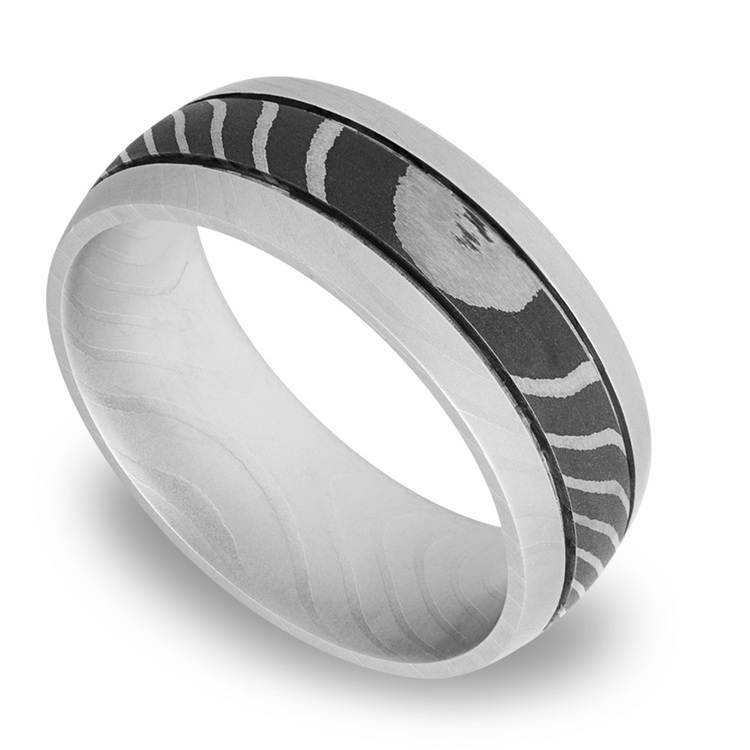 Domed Tiger Men's Wedding Ring with Two Accent Grooves in Damascus Steel | 01