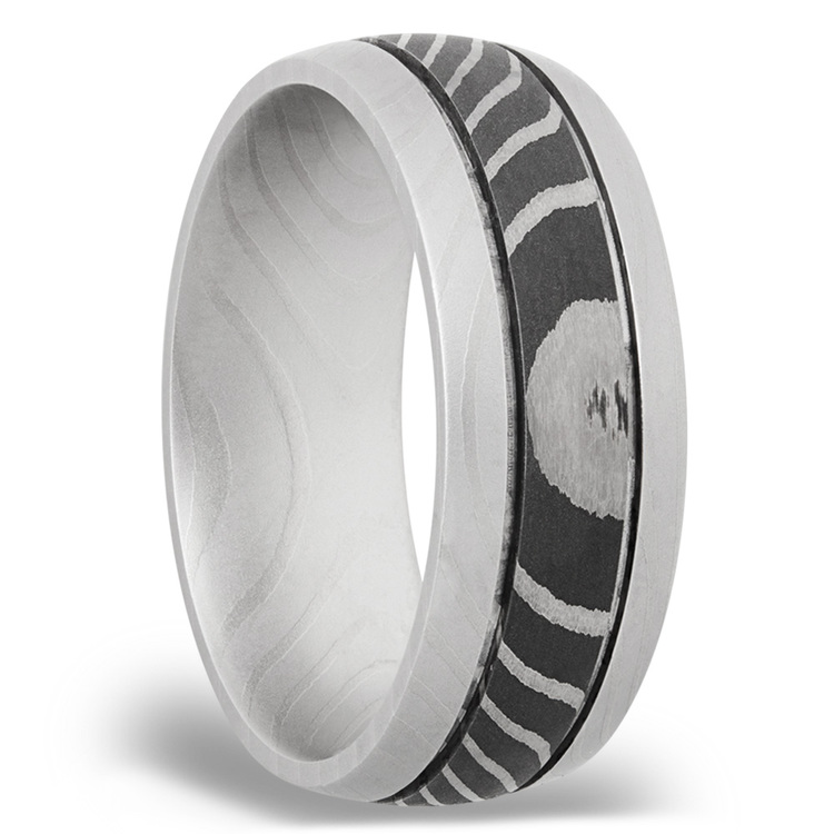 Domed Tiger Men's Wedding Ring with Two Accent Grooves in Damascus Steel | 02