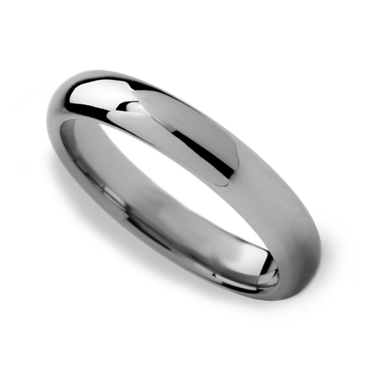 High-Polished Domed Tungsten Carbide Mens Band (4mm) | 01