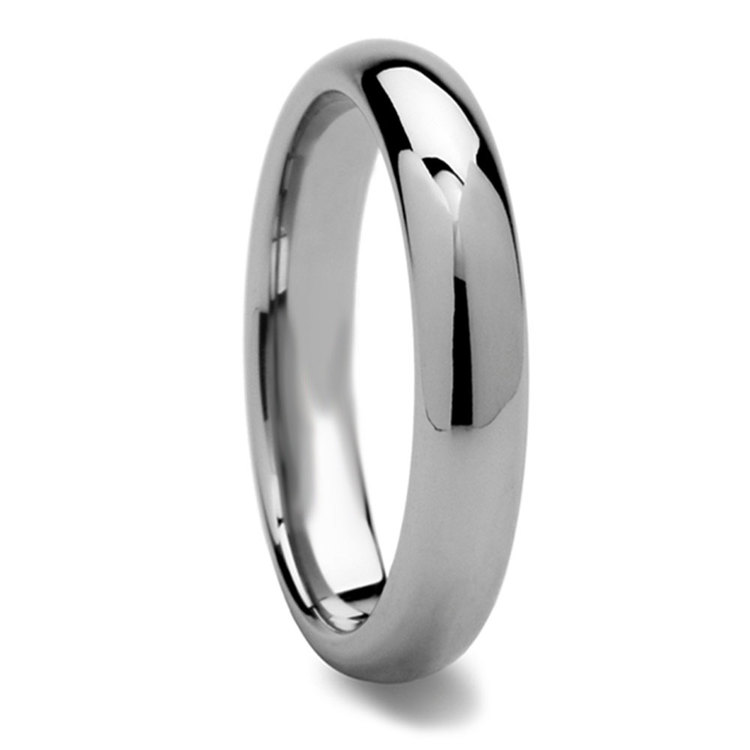 High-Polished Domed Tungsten Carbide Mens Band (4mm) | 02