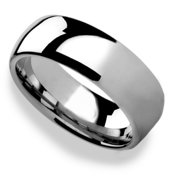 High-Polished Domed Tungsten Carbide Mens Band (8mm) | 01