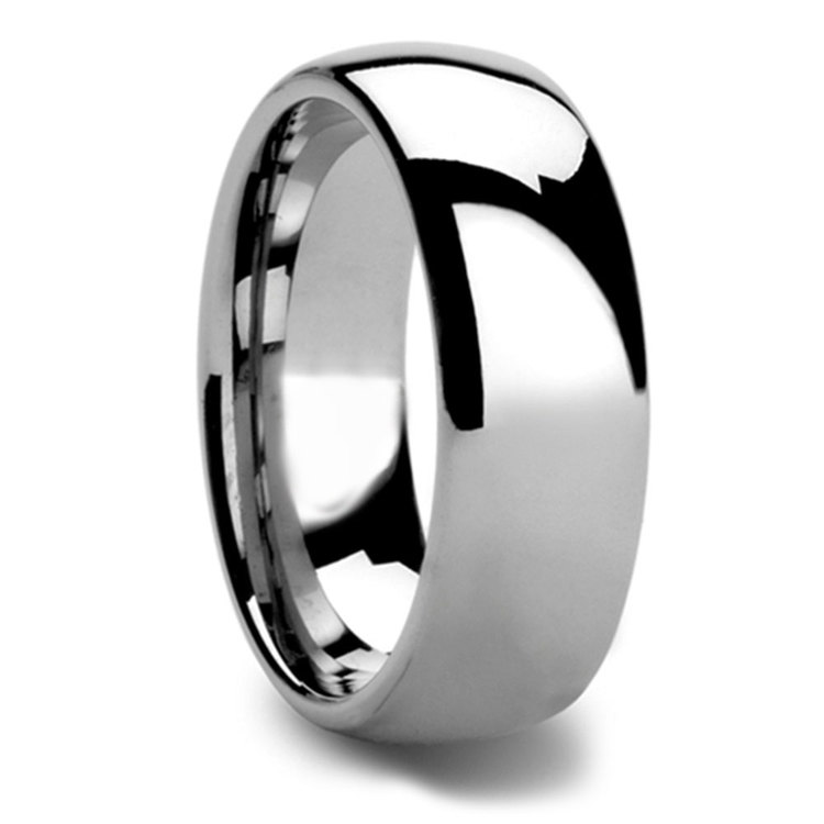 High-Polished Domed Tungsten Carbide Mens Band (8mm) | 02