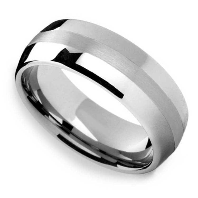 Silver Lining - Domed Tungsten Mens Band with Platinum Inlay | 01