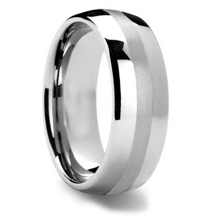 Silver Lining - Domed Tungsten Mens Band with Platinum Inlay | 02