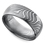 Domed Twisted Patterned Men's Wedding Ring in Damascus Steel | Thumbnail 01