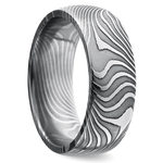 Domed Twisted Patterned Men's Wedding Ring in Damascus Steel | Thumbnail 02