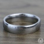 Domed Twisted Patterned Men's Wedding Ring in Damascus Steel | Thumbnail 03