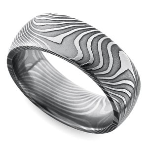 Domed Twisted Patterned Men's Wedding Ring in Damascus Steel