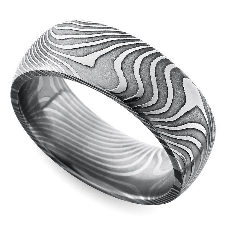 Domed Twisted Patterned Men's Wedding Ring in Damascus Steel | 01
