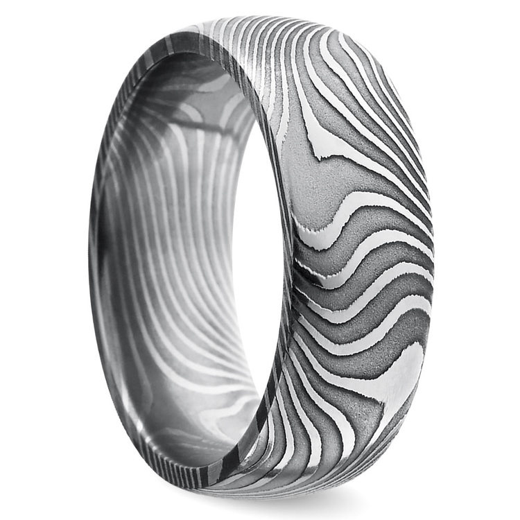 Domed Twisted Patterned Men's Wedding Ring in Damascus Steel | 02