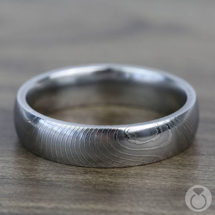 Domed Twisted Patterned Men's Wedding Ring in Damascus Steel | 03