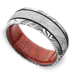 Magnum - Damascus & Meteorite Mens Wedding Band
