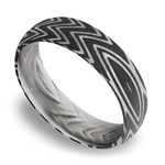 Domed Zebra Men's Wedding Band in Damascus Steel | Thumbnail 01