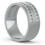 Double Channel Diamond Men's Wedding Ring in Platinum | Thumbnail 02