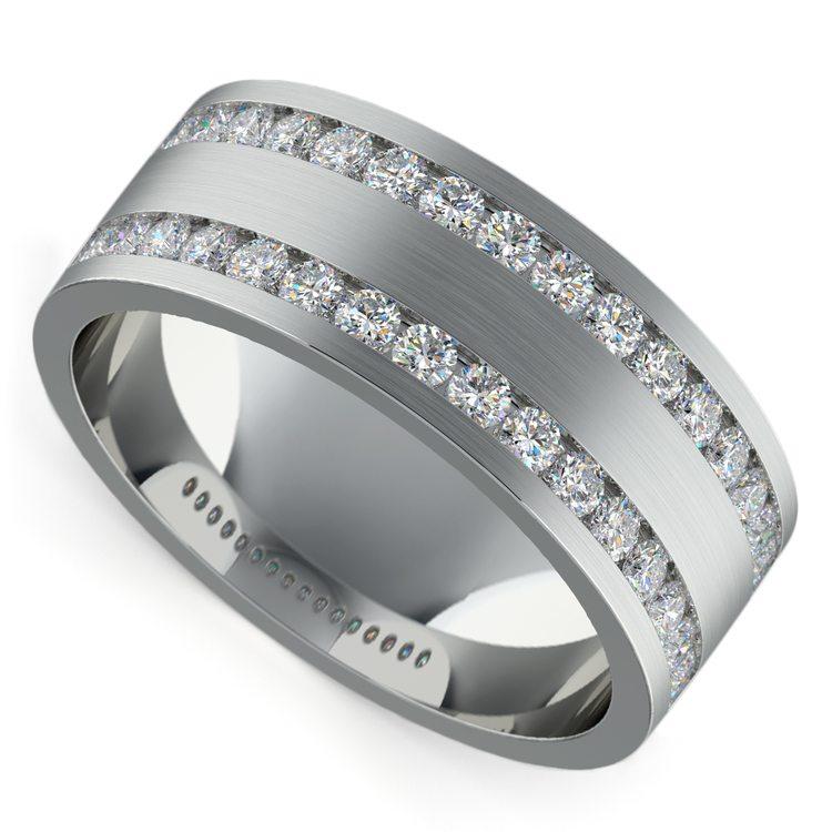 Double Channel Diamond Men's Wedding Ring in Platinum | 01