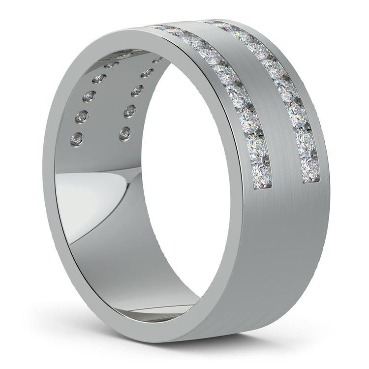 Double Channel Diamond Men's Wedding Ring in Platinum | 02