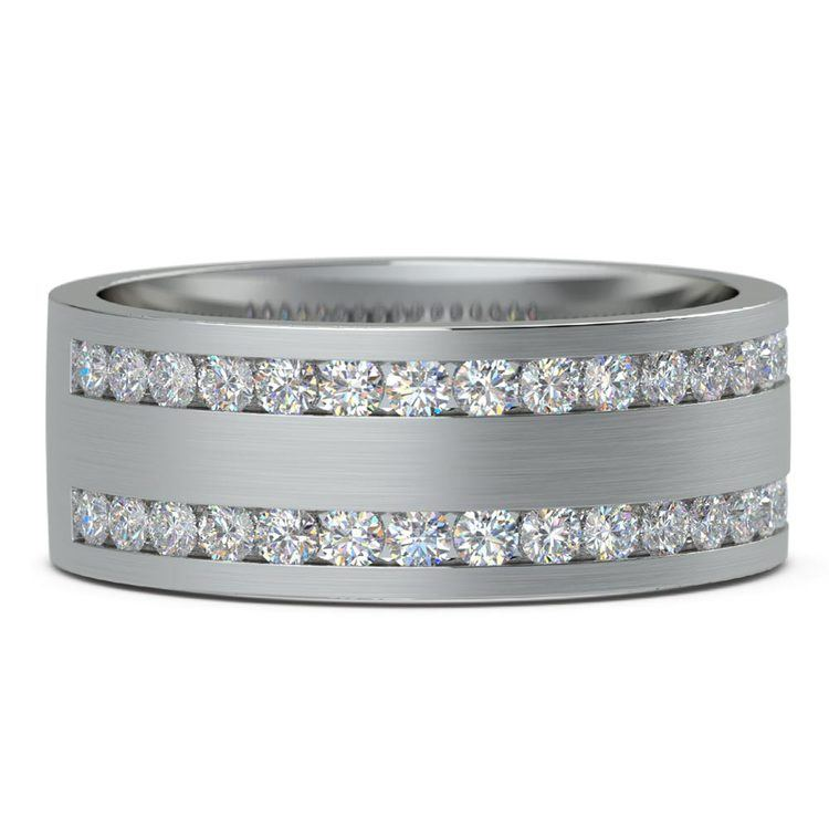 Double Channel Diamond Men's Wedding Ring in Platinum | 03