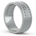 Double Channel Diamond Men's Wedding Ring in White Gold | Thumbnail 02