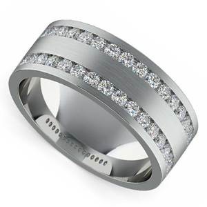 Double Channel Diamond Men's Wedding Ring in White Gold