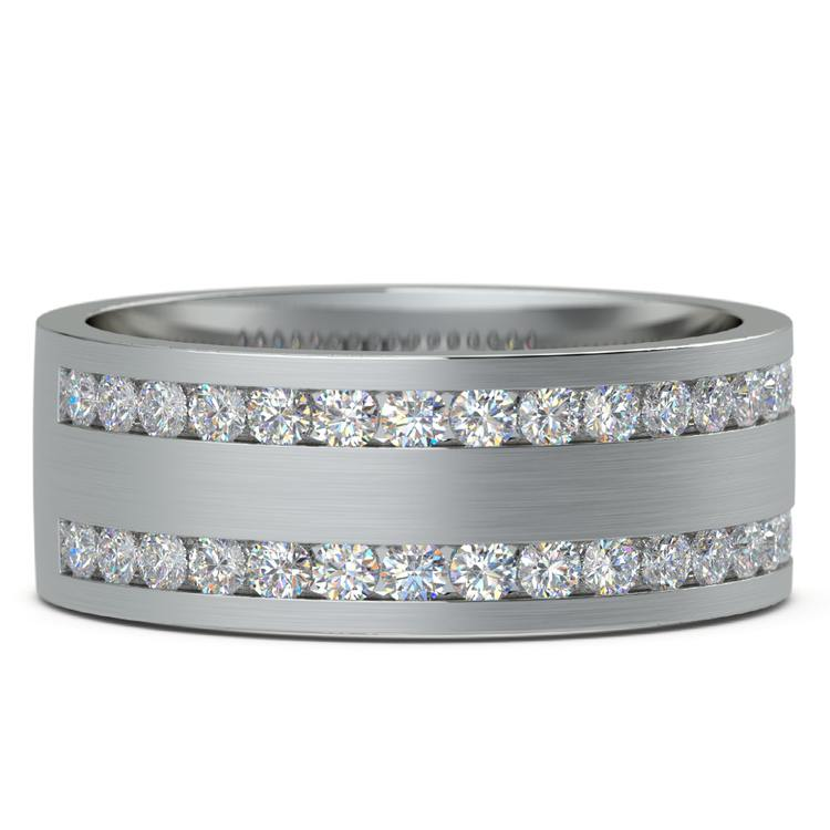 Double Channel Diamond Men's Wedding Ring in White Gold | 03