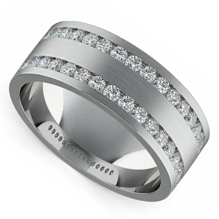 Double Channel Diamond Men's Wedding Ring in White Gold | 01