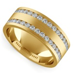 Double Channel Diamond Men's Wedding Ring in Yellow Gold | Thumbnail 01