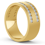 Double Channel Diamond Men's Wedding Ring in Yellow Gold | Thumbnail 02