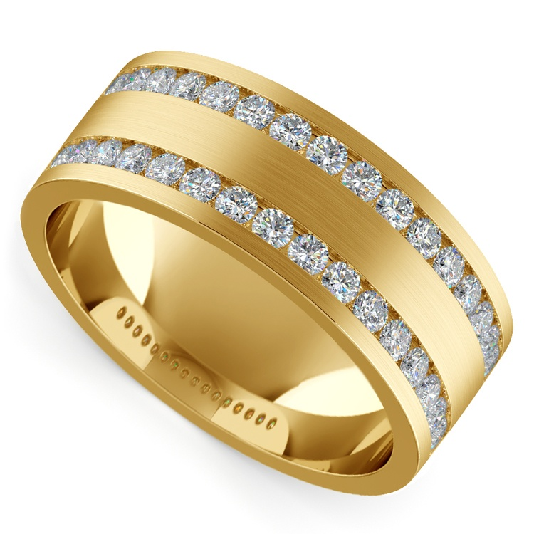 Double Channel Diamond Men's Wedding Ring in Yellow Gold | 01