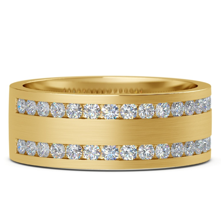 Double Channel Diamond Men's Wedding Ring in Yellow Gold | 03