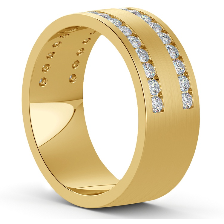 Double Channel Diamond Men's Wedding Ring in Yellow Gold | 02