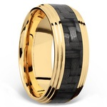 Double Stepped Edges Carbon Fiber Inlay Men's Wedding Ring in 14K Yellow Gold | Thumbnail 02