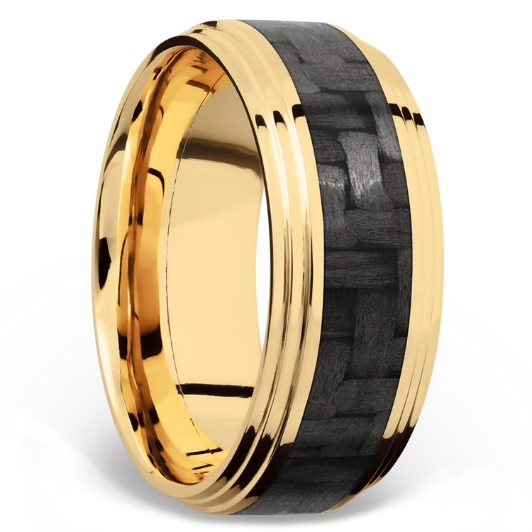 Double Stepped Edges Carbon Fiber Inlay Men's Wedding Ring in 14K Yellow Gold | 02