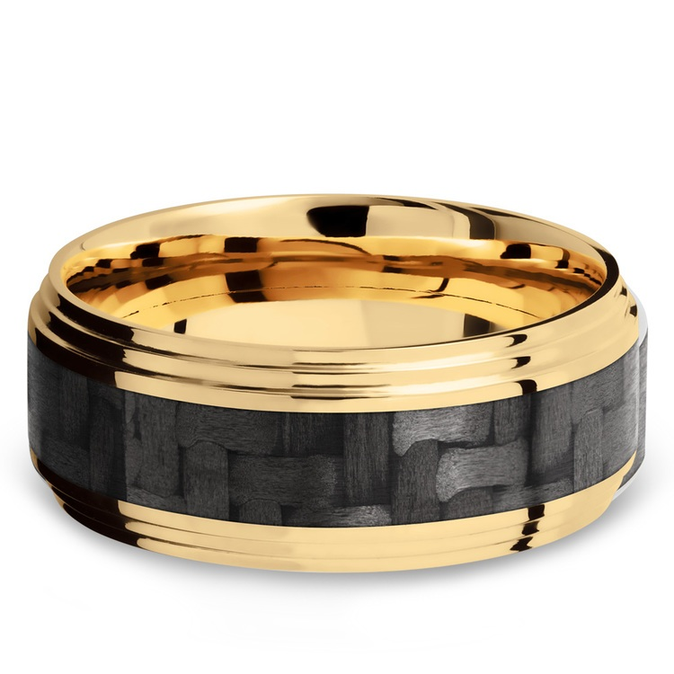 Double Stepped Edges Carbon Fiber Inlay Men's Wedding Ring in 14K Yellow Gold | 03