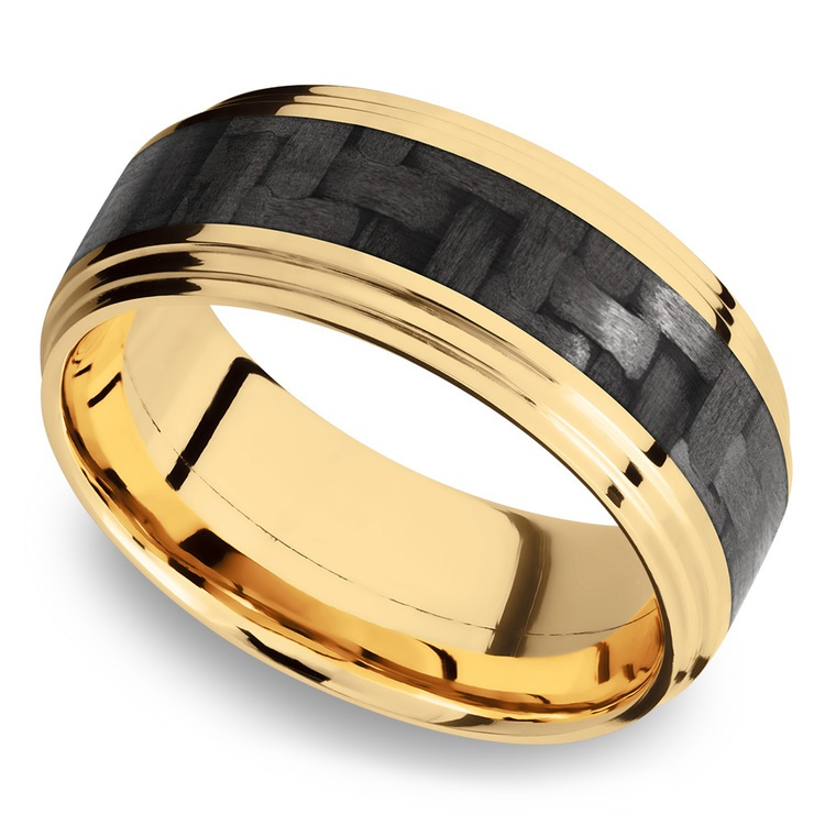 Double Stepped Edges Carbon Fiber Inlay Men's Wedding Ring in 14K Yellow Gold | 01