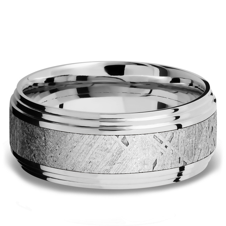 Double Stepped Edges Meteorite Inlay Men's Wedding Ring in Cobalt Chrome   03