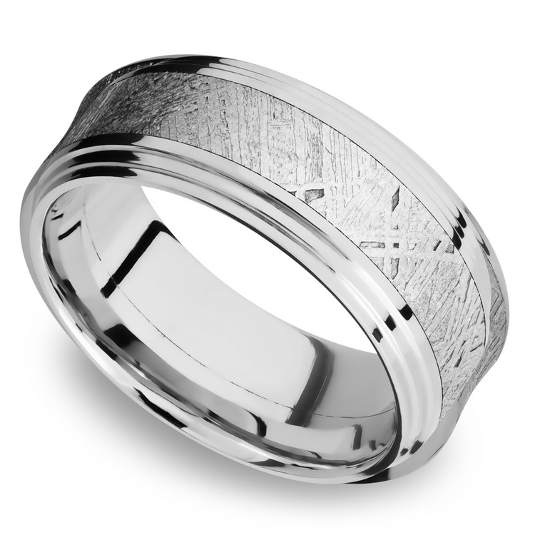 Double Stepped Edges Meteorite Inlay Men's Wedding Ring in Cobalt Chrome   01