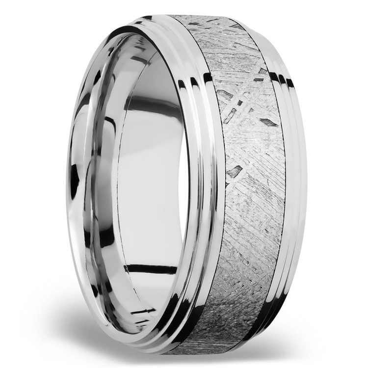 Double Stepped Edges Meteorite Inlay Men's Wedding Ring in Cobalt Chrome   02
