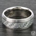 Double Stepped Edges Silver Carbon Fiber Inlay Men's Wedding Ring in 14K White Gold | Thumbnail 04