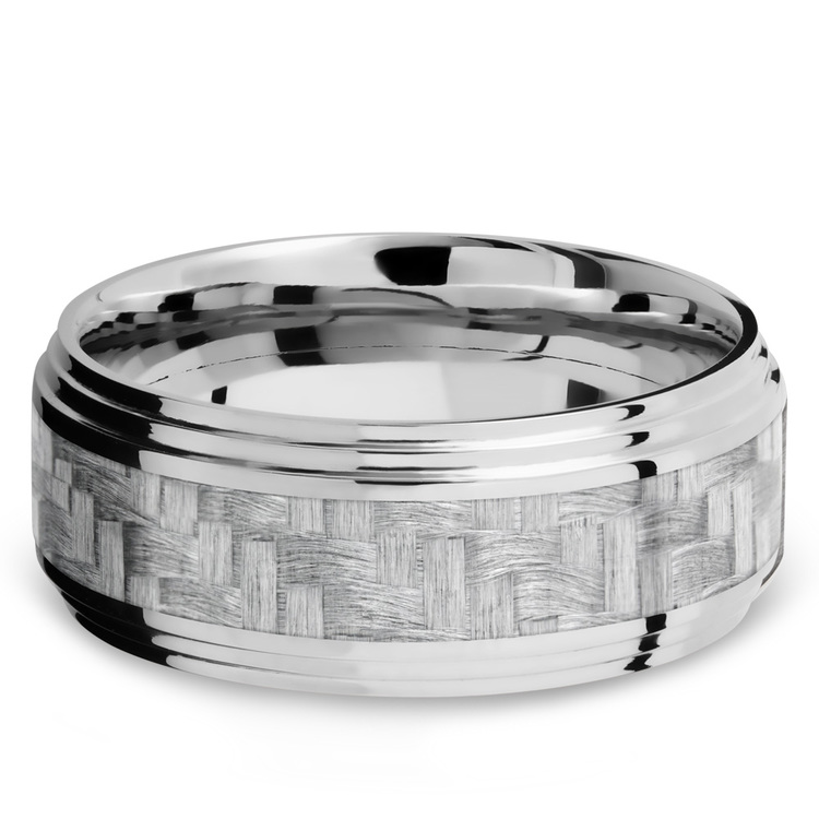 Double Stepped Edges Silver Carbon Fiber Inlay Men's Wedding Ring in 14K White Gold | 03