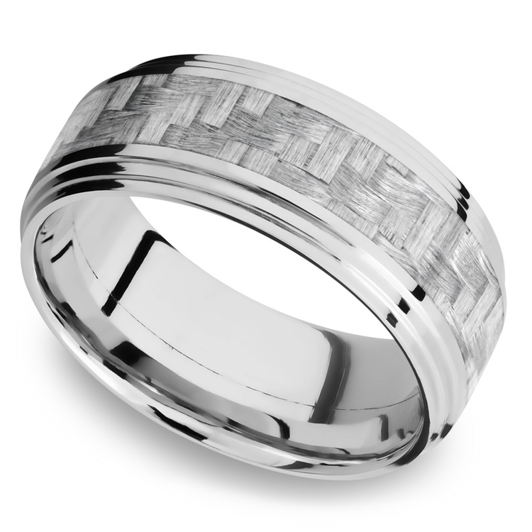 Double Stepped Edges Silver Carbon Fiber Inlay Men's Wedding Ring in 14K White Gold | 01