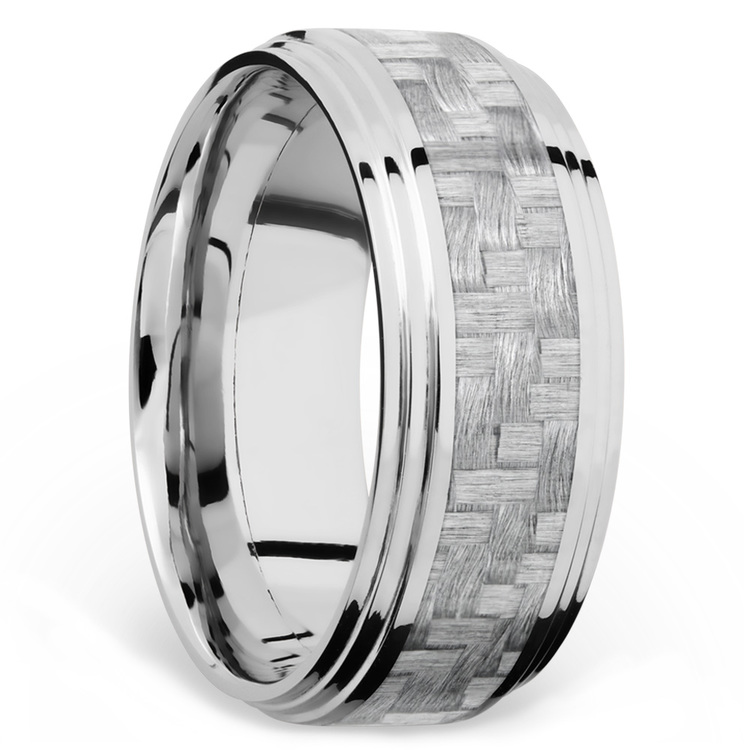 Double Stepped Edges Silver Carbon Fiber Inlay Men's Wedding Ring in 14K White Gold | 02