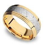 Double Stepped Meteorite Inlay Men's Wedding Ring in 14K Yellow Gold | Thumbnail 01