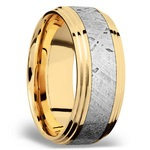 Double Stepped Meteorite Inlay Men's Wedding Ring in 14K Yellow Gold | Thumbnail 02