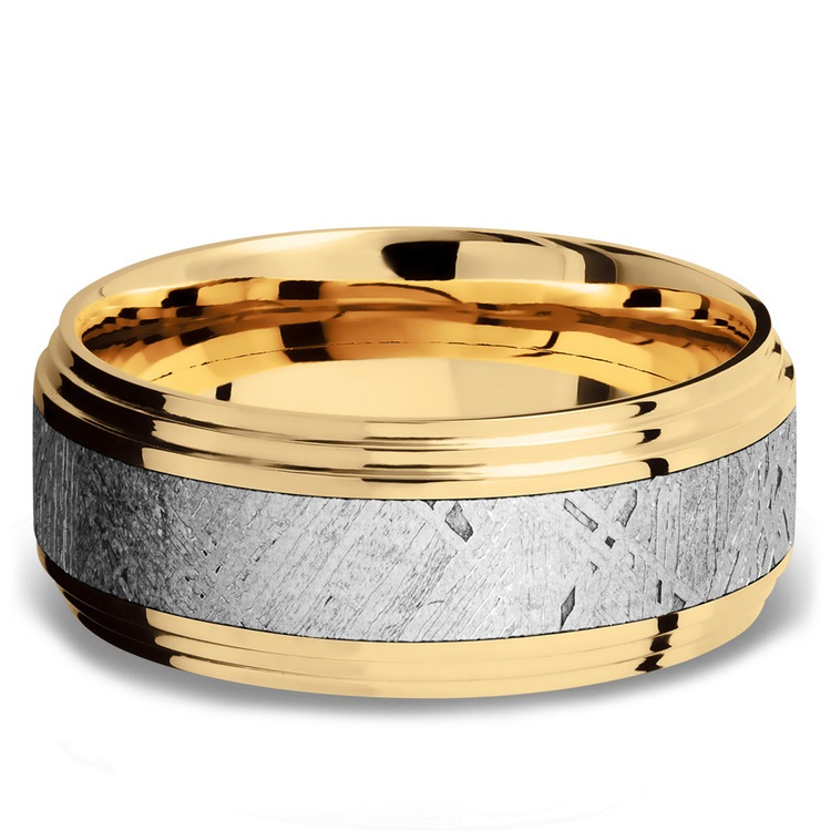 Double Stepped Meteorite Inlay Men's Wedding Ring in 14K Yellow Gold | 03