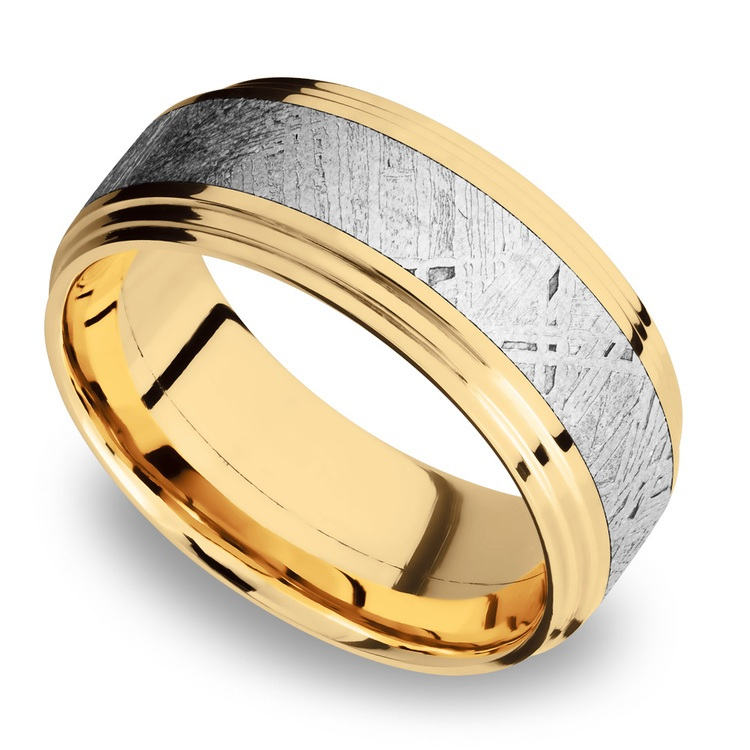 Double Stepped Meteorite Inlay Men's Wedding Ring in 14K Yellow Gold | 01