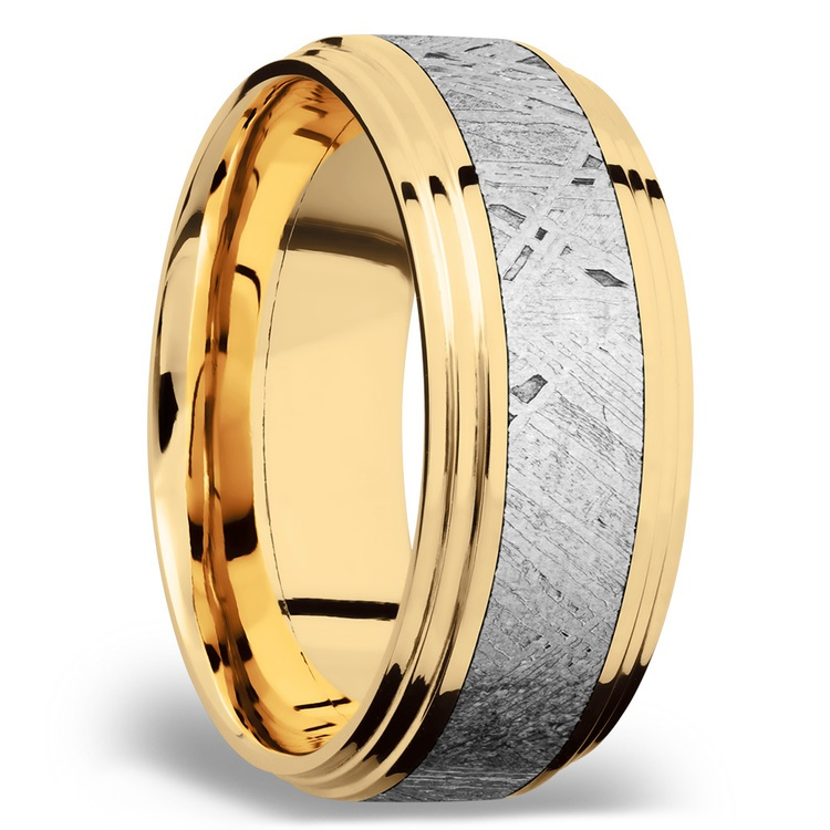 Double Stepped Meteorite Inlay Men's Wedding Ring in 14K Yellow Gold | 02