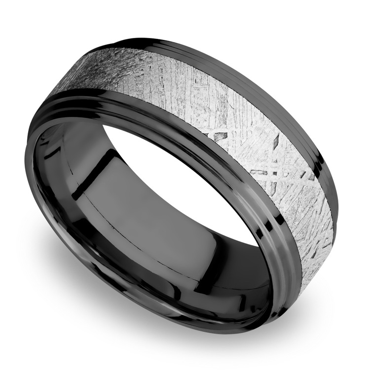 Moon Walker - Double Stepped Zirconium Mens Band with Meteorite Inlay | 01
