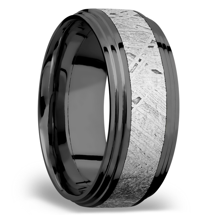 Moon Walker - Double Stepped Zirconium Mens Band with Meteorite Inlay | 02